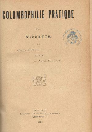 Colombophile pratique. (1925)