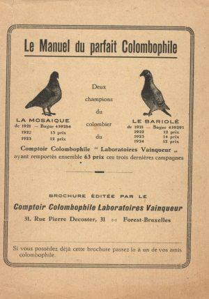 Le manuel du parfait colombophile. (1925)